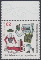 !a! GERMANY 2015 Mi. 3159 MNH SINGLE W/ Top Margin (b) -First Bavarian National Costume Group, Traunstein - [7] Repubblica Federale