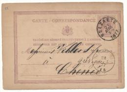1877 CARTE CORRESPONDANCE VAN SELZAETE NAAR GRIVIGNEE ZIE SCAN(S) - Ganzsachen