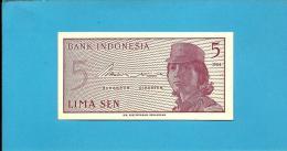 INDONESIA - 5 SEN - 1964 - P 91 - UNC. - Série AKM - Female Volunteer In Uniform - 2 Scans - Indonésie
