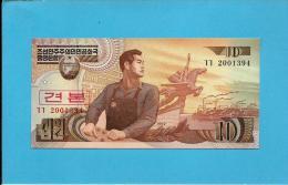 KOREA, NORTH - 10 WON - 1998 - P 41.s - UNC. - SPECIMEN - 2001394 - 2 Scans - Korea, North