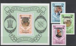 Barbuda 1981 MiNr. 568/ 570 A  + 571 (Block 62) **/ MNH  Hochzeit Von Prinz Charles Mit Lady Diana; Glamis Castle - Antigua Und Barbuda (1981-...)