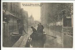 Crue De La Seine , Janvier 1910 , ASNIERES , La Rue D' Anjou , CPA ANIMEE - Asnieres Sur Seine