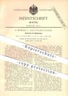 Original Patent - C. Wenner In Hottingen-Zürich , 1892 , Hochdruck - Zentrifugalpumpe , Pumpe , Pumpen !!! - Vieux Papiers
