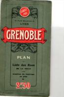 PLAN VILLE DE GRENOBLE + CARTE ROUTIERE DU DAUPHINE  Guides Pol  ANNEES 1950 - Europe