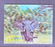 BHUTAN   116   *  3 D  STAMP  ELEPHANT - Holograms