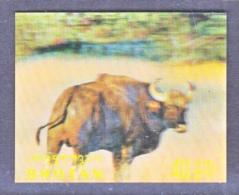 BHUTAN   116 E   *  3 D  STAMP  FAUNA  WATER  BUFFALO - Holograms