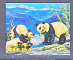 BHUTAN   116 G   *  3 D  STAMP  FAUNA  GIANT  PANDAS - Holograms