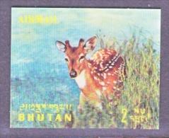 BHUTAN   116 I   *  3 D  STAMP  FAUNA    DEER - Holograms