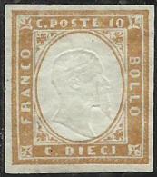ANTICHI STATI: 1862 SARDEGNA 10 CENTESIMI BISTRO GIALLA OCRA MLH - Sardegna