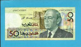 MOROCCO - 50 DIRHAMS - 1987 ( 1991 ) - Pick 64.a - Sign. 10 - King Hassan II - BANK AL MAGHRIB - MAROC - Marruecos