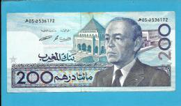 MOROCCO - 200 DIRHAMS - 1987 ( 1991 ) - Pick 66.c - Sign. 12 - King Hassan II - BANK AL MAGHRIB - MAROC - Marruecos