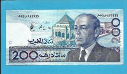 MOROCCO - 200 DIRHAMS - 1987 ( 1991 ) - Pick 66.d - Sign. 13 - King Hassan II - BANK AL MAGHRIB - MAROC - Morocco