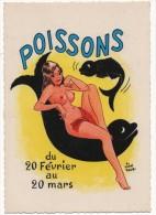 Zodiaque POISSONS  Pin-Up Nu Par Michel Saccia Du 20 Février Au 20 Mars - Humour