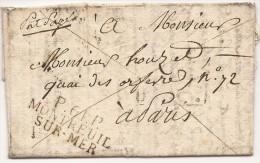 L. 1820 Marque P.61.P./MONTREUIL/SUR-MER Pour Paris - 1801-1848: Voorlopers XIX