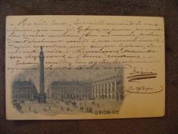 Cpa Paris Place Vendome Union Vie Assurances. - Commercio