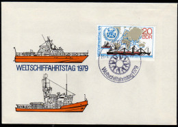 DDR 1979 - Weltschiffahrtstag, Weltkarte - FDC - Schiffe