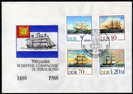 DDR 1988 - Segelschiffe - FDC - Schiffe