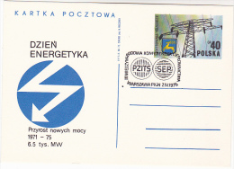 1975 POLAND EVENT COVER (card) ELECTRIC ENERGY  District HEATING CONFERENCE  Electricity Stamps Postal Stationery - Electricity