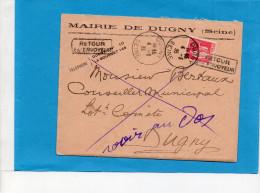 """MARCOPHILIE-Lettre-MAIRIE DeDUGNY+cad 1935-""""retour à L'envoyeur - Marcophilie (Lettres)"""