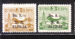 Bolivia 1955 Postal Tax Stamps Surcharged MNH Error Printing - Bolivia
