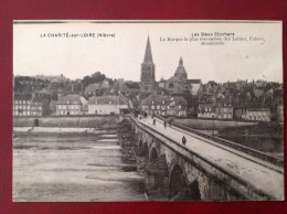 58 Nièvre LA CHARITE SUR LOIRE Les Deux Clochers + (carte Privée Marquée Aux Deux Clochers Mercerie Gabriel Clayeux) - La Charité Sur Loire