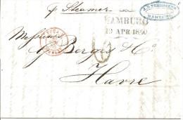 LAC D' HAMBOURG  AU HAVRE  DU 19/04/1850  PAR STEAMER   - CACHET TYPE 58    INDICE 7 - 1801-1848: Precursori XIX