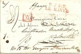 LAC  LE HAVRE  A CALCUTTA  DU 03/07/1827 - CACHET ROUGE P.74.P LE HAVRE   INDICE 9 - 1801-1848: Precursori XIX