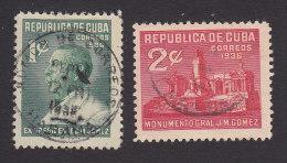 Cuba, Scott #322-323, Used, Pres Jose Miguel Gomez, Issued 1936 - Cuba