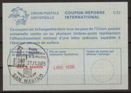 SAN MARINO International Reply Coupon Reponse Antwortschein IAS IRC  No. 2 La25E  LIRE 1000  O SAN MARINO 27.11.85 - Interi Postali