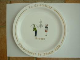 ASSIETTE TIR A L�ARC  - CHAMPIONNAT DE FRANCE 1976 LA CRISTALLINE ARQUES