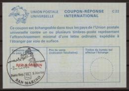 SAN MARINO International Reply Coupon Reponse Antwortschein IAS IRC  La25C  Without Selling Price  O SAN MARINO 2.1.2002 - Interi Postali