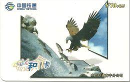 CHINE  TIETONG  TELECARTE PHONECARD  CARTE CODE  AIGLE PECHANT POISSON - Chine