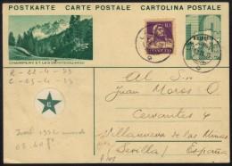 ESPERANTO - SUISSE - CHAMPERY - LA JALUSE/ 1933 ENTIER POSTAL ILLUSTRE POUR L' ESPAGNE (ref 6640) - Esperanto