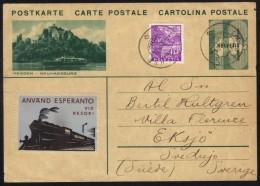 ESPERANTO - SUISSE - MEGGEN - LA JALUSE/ 1934 ENTIER POSTAL ILLUSTRE POUR LA SUEDE (ref 6638) - Esperanto