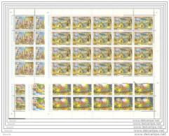 1988 Vaticano Vatican VIAGGI DEL PAPA  JOURNEYS OF THE POPE 20 Serie Aeree Di 5v. In Foglio MNH** Air Mail Sheets - Posta Aerea