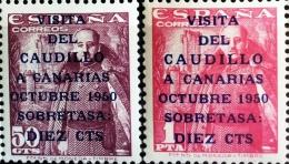 ESPAÑA 1951, Nº 1988/89 VISITA DEL CAUDILLO A CANARIAS, NUEVO SIN FIJASELLOS - 1931-Hoy: 2ª República - ... Juan Carlos I