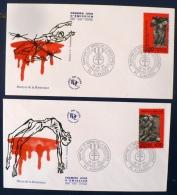 FRANCE 2eme Guerre Mondiale, MARTYRS ET HEROS DE LA RESISTANCE Yvert N°2813/14.  2 Enveloppes FDC - 2. Weltkrieg