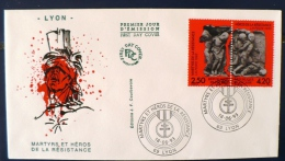 FRANCE 2eme Guerre Mondiale, MARTYRS ET HEROS DE LA RESISTANCE Yvert N°2813A. FDC. Cachet Lyon - 2. Weltkrieg