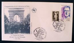 FRANCE 2eme Guerre Mondiale, Flamme Temporaire  LIBERATION J'ECRIS TON NOM. Paris Aout 1994. De Gaulle - 2. Weltkrieg
