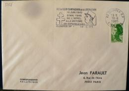 FRANCE 2eme Guerre Mondiale, Flamme Temporaire ILE DE SEIN COMPAGNON DE LA LIBERATION. Quimper 18/06/1985. De Gaulle - 2. Weltkrieg