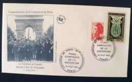 FRANCE 2eme Guerre Mondiale, Flamme Temporaire PARIS COMPAGNON DE LA LIBERATION. 25/08/1994. De Gaulle - 2. Weltkrieg