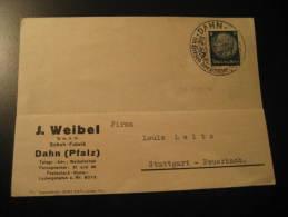 Dahn 1937 To Stuttgart Hindenburg Stamp On Card Germany Deutsches Third Reich - Alemania