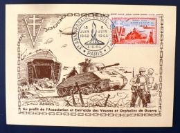 FRANCE Debarquement. Yvert 983 Sur Carte Maximum. Obliteration Paris GF 6/6/1954 - 2. Weltkrieg