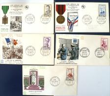 FRANCE Heros De La Résistance. Yvert 1248/52 FDC, Enveloppe 1er Jour - Guerre Mondiale (Seconde)