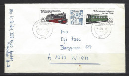 DDR - Beleg Mi-Nr. 2864 + 2867 Dreierstreifen Schmalspurbahnen - [6] Democratic Republic