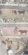 MEXICAN BULL FIGHT - CORRIDAS DE TOROS EN MEXICA CONJUNTO DE POSTALES CIRCA 1935 TBE DOS DIVISE - Corrida
