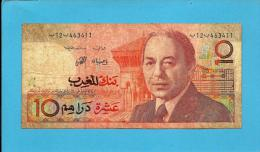 MOROCCO - 10 DIRHAMS - 1987 - Pick 60.a - Sign. 9 - King Hassan II - BANK AL MAGHRIB - MAROC - Maroc