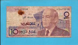 MOROCCO - 10 DIRHAMS - 1987 ( 1991 ) - Pick 63.a - Sign. 10 - King Hassan II - BANK AL MAGHRIB - MAROC - Marocco