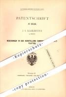 Original Patent - J.S. Kahlbetzer In Deutz B. Köln , 1878 , Herstellung Von Asphalt-Platten , Straßenbau !!! - Documents Historiques