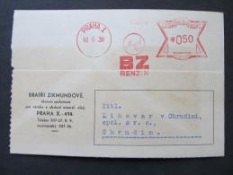 BRIEF Frankotype Postfreistempel 1938 Praha BENZIN Bratri Zikmundove /// T5676 - Tschechoslowakei/CSSR